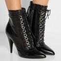 Bota Feminina Ankle Boot Preta Cadarço Salto Agulha