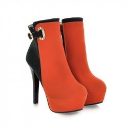 Bota Feminina Ankle Boot Vermelha Preto Salto Agulha