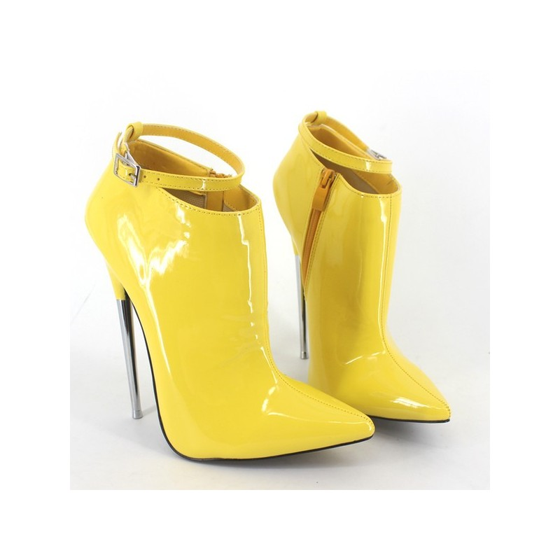 Bota Ankle Boot Amarela Couro Verniz Salto Agulha 15cm