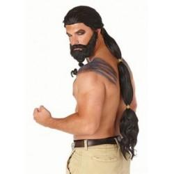 Peruca Barba Fantasia Masculina Khal Drogo Game of Thrones Halloween Cosplay