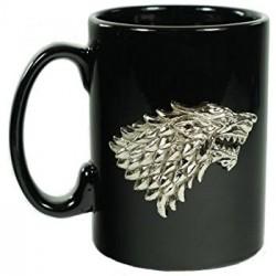 Caneca Preta Game of Thrones Emblema Casa Stark Presente Geek