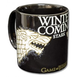 Caneca Preta Game of Thrones Emblema Casa Stark Winter is Coming