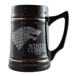 Caneca Preta Game of Thrones Emblema Casa Stark Cerâmica Geek