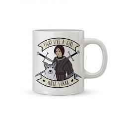 Caneca Aria Stark Game of Thrones Branca Geek