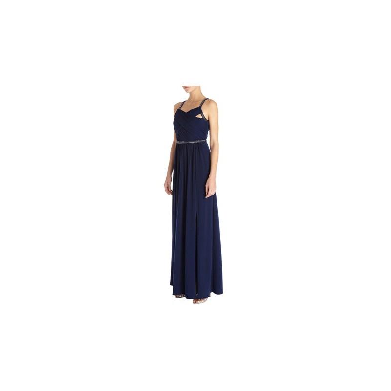Vestido Festa Longo Seda Azul Fluido