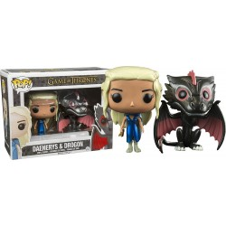 Boneco Funko Pop Vinil Game of Thrones Daenerys Targaryen & Drogon Dragão Geek