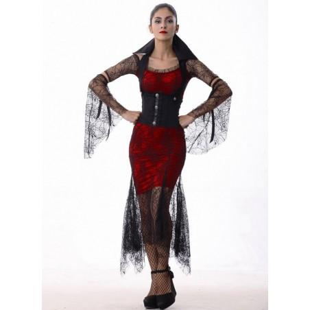 Fantasia Feminina Vampira Gótica Halloween Carnaval Festa a Fantasia