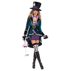 Fantasia Feminina Mulheres Chapeleira Luxo Halloween Festa Carnaval