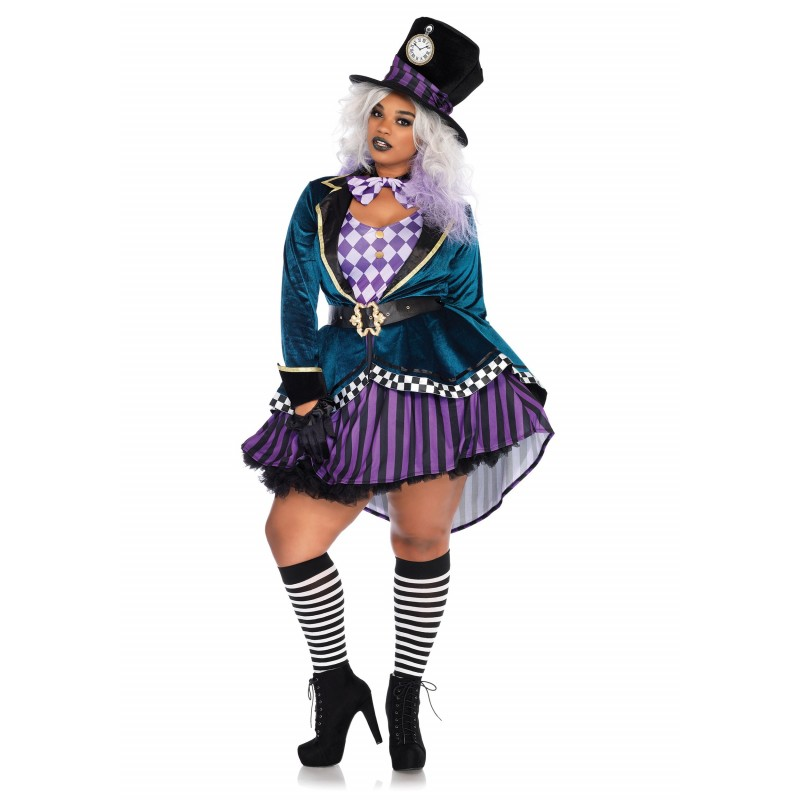 Fantasia Feminina Mulheres Plus Size Chapeleira Luxo Halloween Festa Carnaval