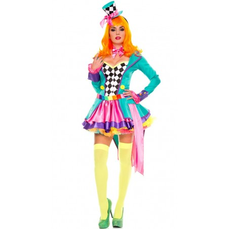 Fantasia Feminina Mulheres Chapeleira Colorida Luxo Halloween Festa Carnaval