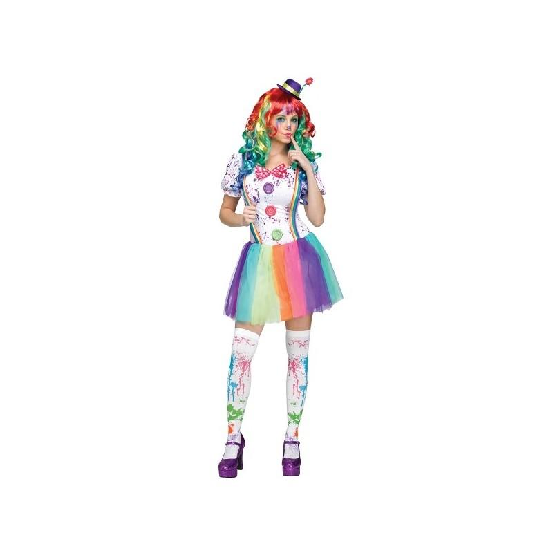 Fantasia Feminina Adulto Palhaça Arco-íris Halloween Festa a Fantasia Carnaval