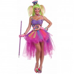 Fantasia Feminina Adulto Palhaça Halloween Festa a Fantasia Carnaval