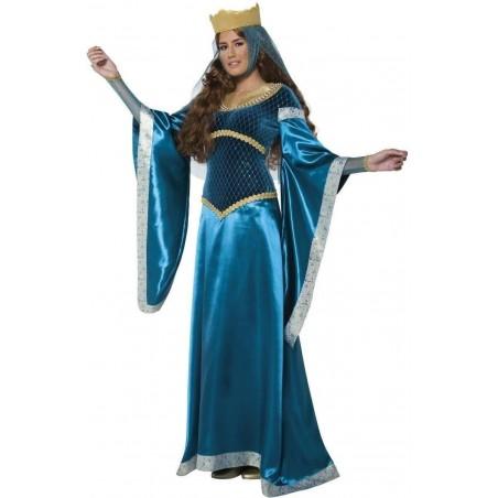 Fantasia Feminina Princesa Medieval Azul Halloween Festa a Fantasia