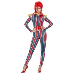 Fantasia Feminina Anos 80 Espacial Colorida Peruca Carnaval Halloween Festa Importada