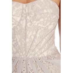 Vestido Festa Branco Seda e Renda Fluido Decote Coração