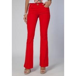 Calça Feminina Sarja Color Vermelha