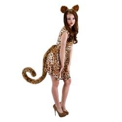 Fantasia Feminina Tigresa com Calda Halloween Carnaval Festa