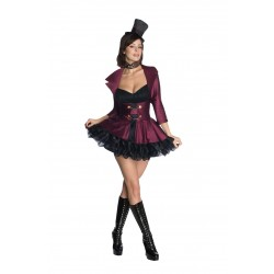 Fantasia Feminina Burlesca Willy Wonka Halloween Carnaval