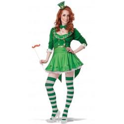 Fantasia Feminina Duente Leprechaun Irlandês Verde Carnaval Halloween Festa
