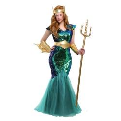 Fantasia Feminina Sereia Rainha do Mar Tridente Carnaval Halloween Festa