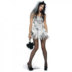 Fantasia Feminina Noiva Cadáver Terror Halloween Carnaval