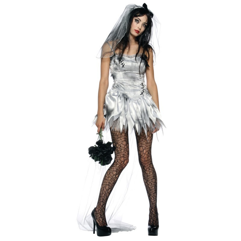 2561fe20c Fantasia Feminina Noiva Cadáver Terror Halloween Carnaval