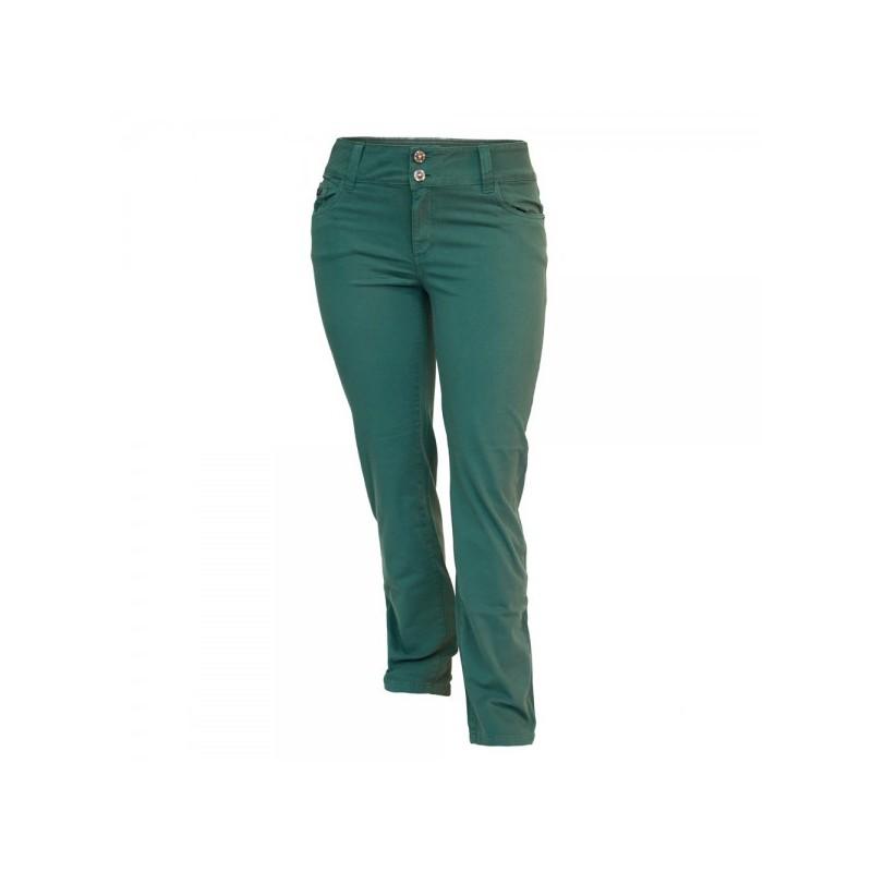 Calça Feminina Skinny Cós Alto Sarja Color Verde