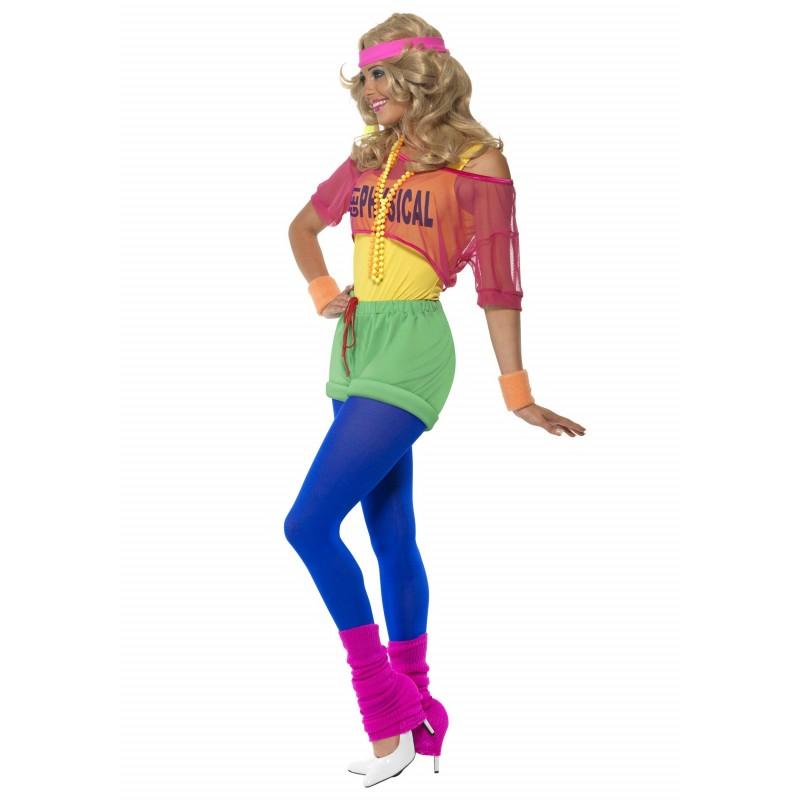 Fantasia Feminina Fitness Anos 80 Halloween Carnaval Festa Importada