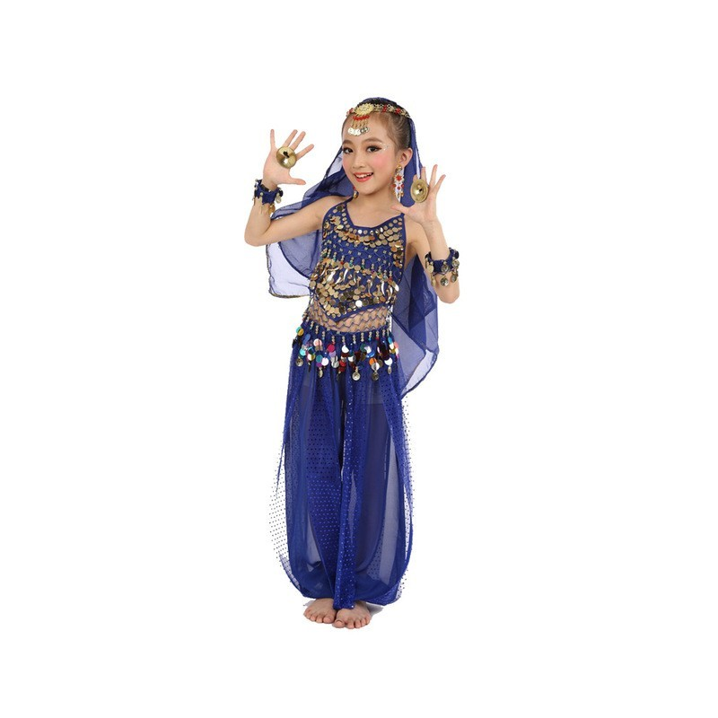 Fantasia Infantil Meninas Indiana Azul Importada