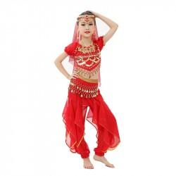 Fantasia Infantil Meninas Indiana Vermelha Importada