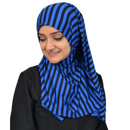 Hijab Listrado Azul Muçulmano Mulheres