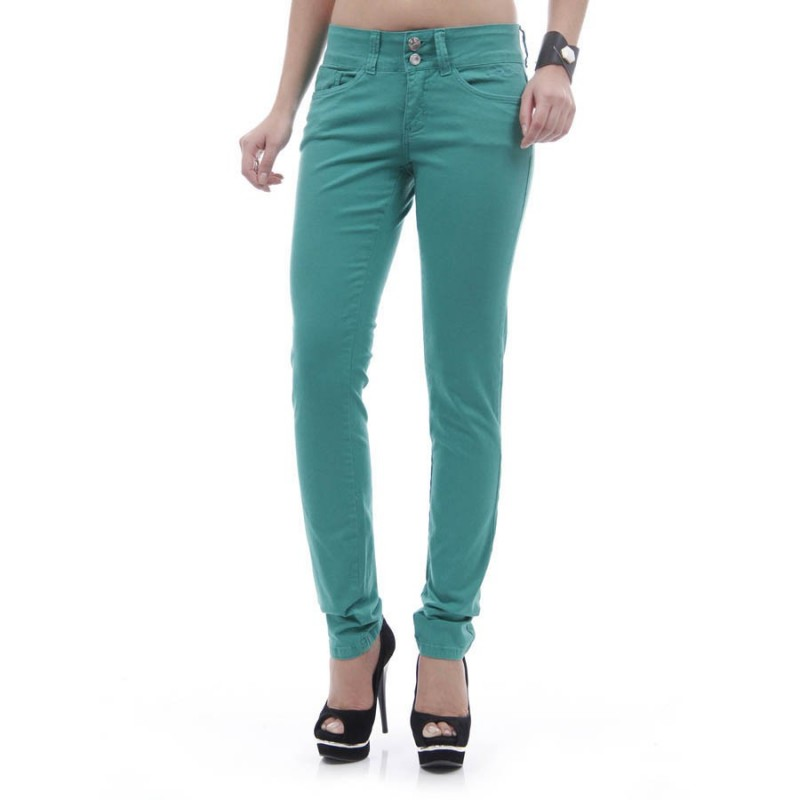 Calça Feminina Skinny Sarja Color Azul Piscina