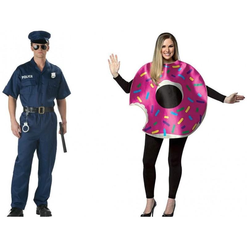 Fantasia Adulto Casal Policial E Donut Halloween Carnaval Festa