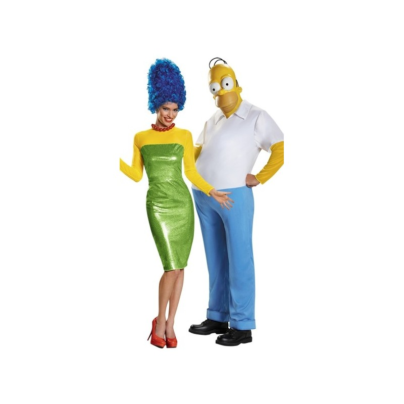 Fantasia Adulto Casal Homer e Marge Os Simpsons Halloween Carnaval Festa