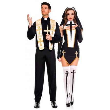 Fantasia Adulto Casal Padre e Freira Sexy Halloween Carnaval Festa