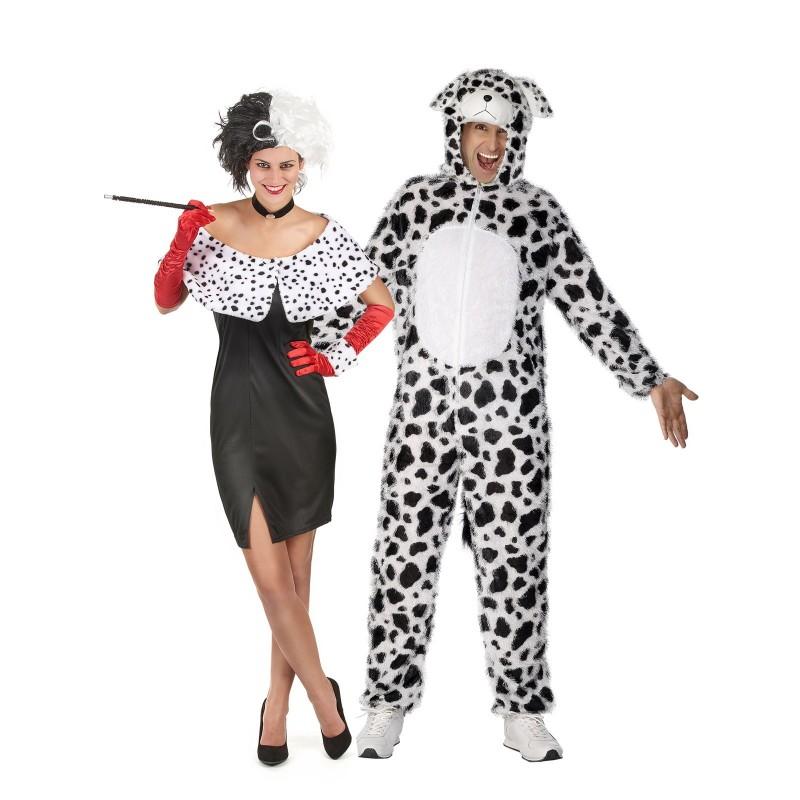Fantasia Adulto Casal Cruela Cruel Dálmata Halloween Carnaval