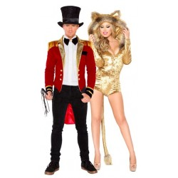 Fantasia Adulto Casal Domador e Fera Leoa Halloween Carnaval