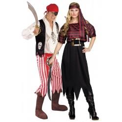 Fantasia Casal Piratas Festa Halloween Carnaval