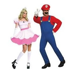 Fantasia Adulto Casal Super Mario Princesa Peach Halloween Carnaval