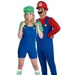 Fantasia Adulto Casal Mario Broz e Luigi Halloween Carnaval
