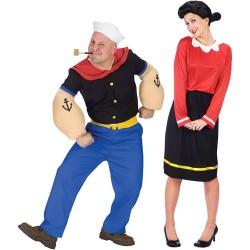 Fantasia Adulto Casal Popeye Olívia Palito Carnaval Halloween Festa