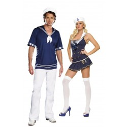 Fantasia Marinheiros Adulto Casal Halloween Festa Carnaval