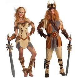 Fantasia Casal Viking Adulto Halloween Festa Carnaval Divertida