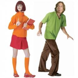 Fantasia Casal Salsinha e Velma Scooby Doo Adulto Halloween Festa Carnaval