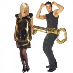 Fantasia Casal Adulto Chave e Fechadura Halloween Carnaval Festa