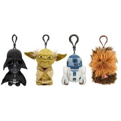 Kit Chaveiros Star Wars Pelúcia Vader Mestre Yoda Chewbacca e R2D2
