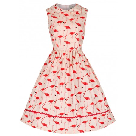 Vestido Flamingo Pink Anos 50 Flare Decote U