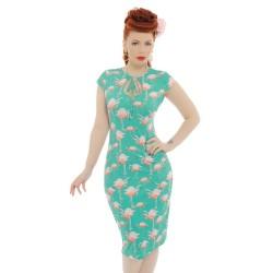 Vestido Flamingo Verde Anos 50 Justo Decote U