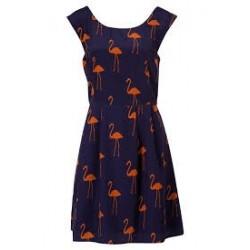 Vestido Flamingo Azul Curto Alças Largas