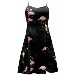 Vestido Estampado Flamingos Preto Curto Alcinhas